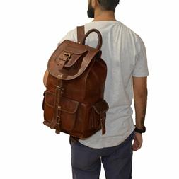 genuine leather vintage casual college day pack