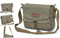 Canvas Messenger Bag - Vintage Crossbody Shoulder Bag Milita