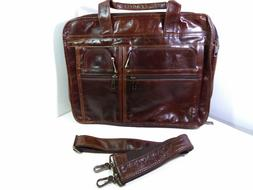 Texbo 15.6 Inch Genuine Leather Satchel Laptop Briefcase Mes