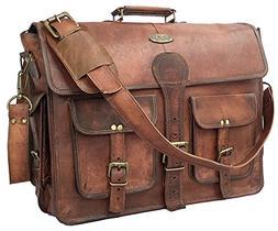DHK 14 Inch Vintage Handmade Leather Messenger Bag for Lapto
