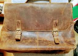 HLC 16 Inch Retro Buffalo Hunter Leather Laptop Messenger Ba