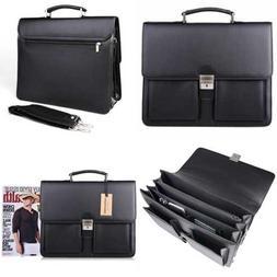 Jack&Chris Mens PU Leather Briefcase Messenger Bag Laptop MB
