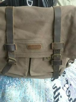 Kattee Large Canvas Leather Messenger bag: Camera