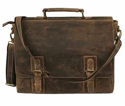 Kattee Men's Crazy Horse Leather Briefcase Messenger Laptop