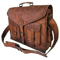 KPL 18 Inch Rustic Vintage Leather Messenger Bag Leather Lap