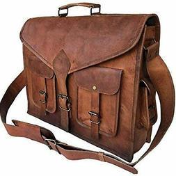 KPL 18 Inch Rustic Vintage Leather Messenger Bag Leather Lap