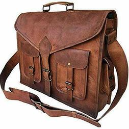 KPL 18 Inch Rustic Vintage Leather Messenger Bag Laptop Bag