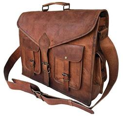 0fa1255e2a38 KPL 18 Inch Rustic Vintage Leather Messenger Bag Laptop Bag