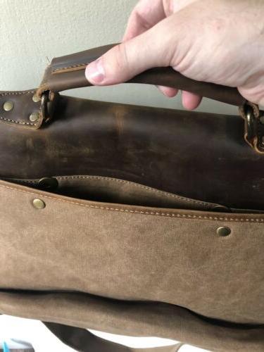 "Lifewit 14"" Messenger Vintage Leather Canvas Laptop Shoulder"