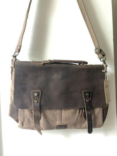 14 messenger bag vintage leather canvas laptop