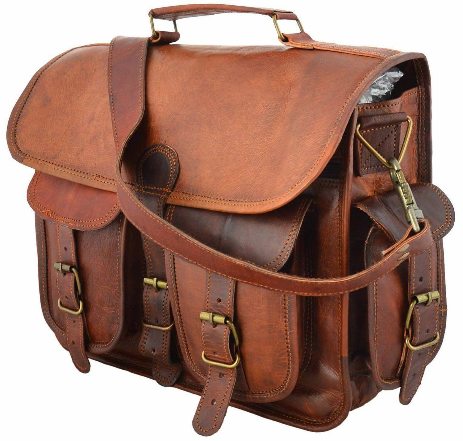 "15"" Large Leather MESSENGER bag for men shoulder bag mens La"