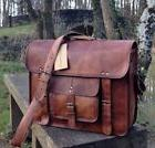 "15"" Men's Genuine Vintage Leather Messenger Laptop Briefcase"