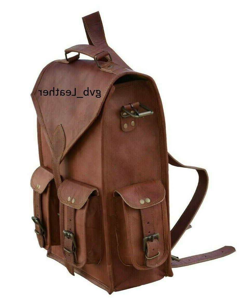 """15"""" 18"""" Men's Vintage Leather Backpack Bag"""