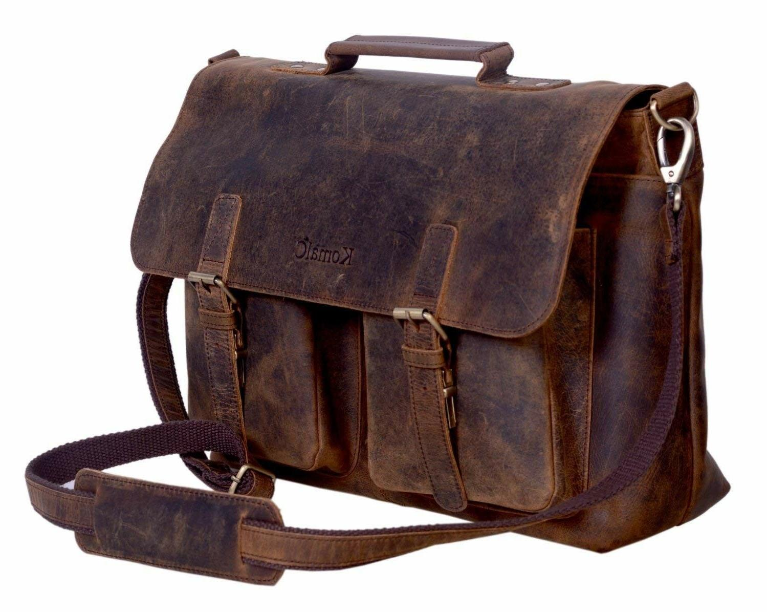 KomalC 15 Inch Retro Buffalo Hunter Leather Laptop Messenger Bag Office Briefcase College Bag Fits Upto 15.6 Inch Laptop