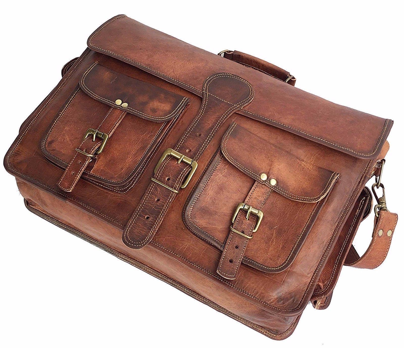 """17"""" Leather Vintage Shoulder Men Satchel School Bag"""