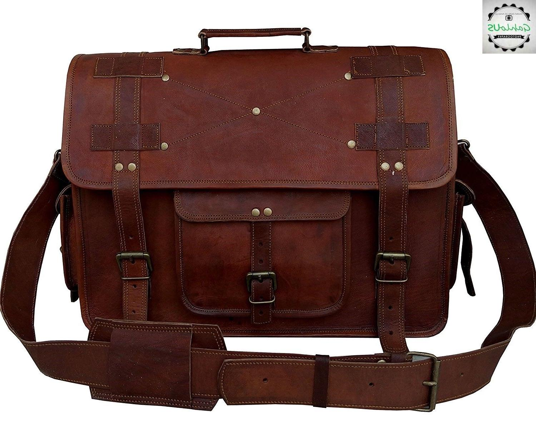 """18"""" Large Leather MESSENGER bag for men shoulder bag mens La"""