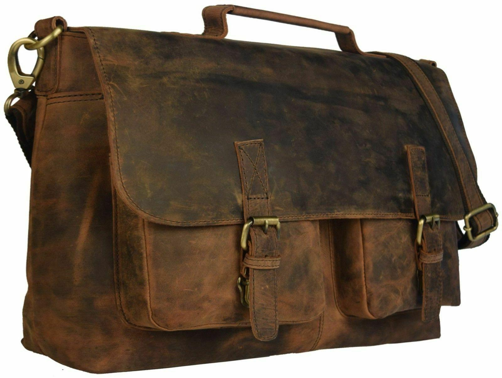 """18"""" Retro Hunter Leather Bag Office Briefcase"""