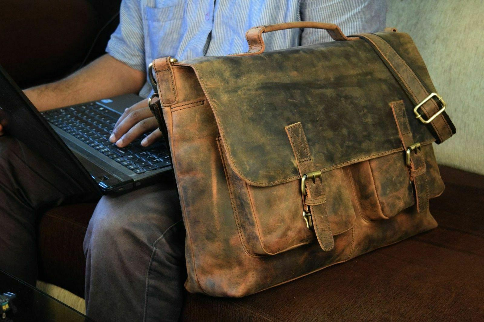 "18"" Inch Retro Buffalo Hunter Leather Laptop Messenger Bag"