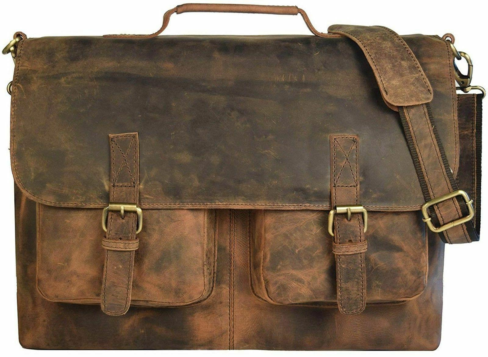 18 inch retro hunter leather laptop messenger