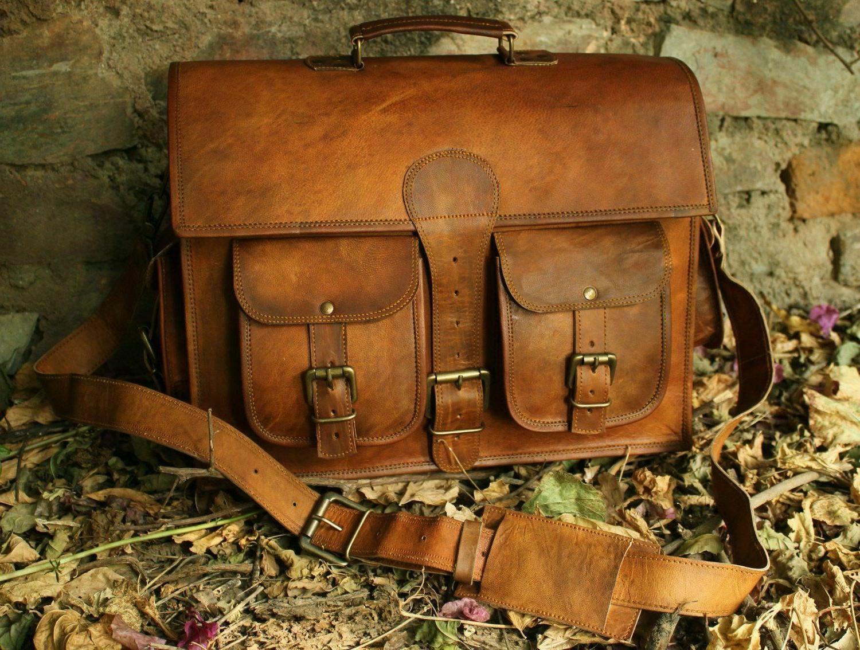 Vintage Leather Briefcase CrossBody Laptop Satchel School Sh