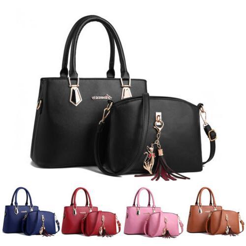 2set women s pu leather handbag shoulder