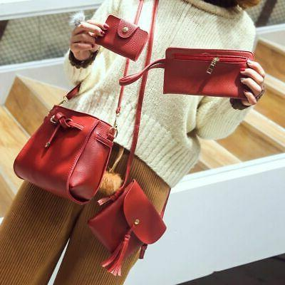4PCS/Set Women Bag Handbag Purse Shoulder Messenger Satchal Bags