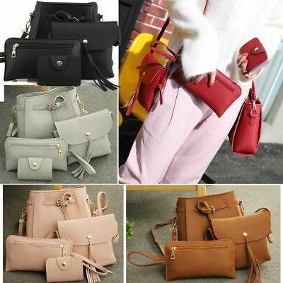 4pcs set women leather tote bag handbag