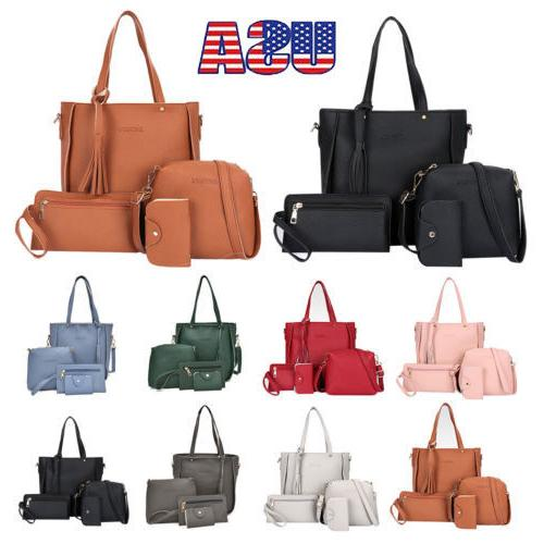 New Women Ladies Handbag 4pcs/Set Leather Shoulder Bag Totes
