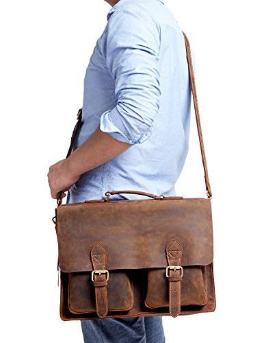Kattee Full Grain Leather Vintage Briefcase Messenger Bag Co