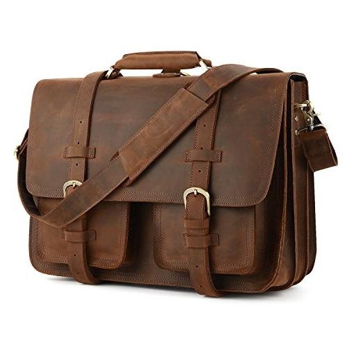 "Kattee XZ340DN-FBA Real Leather 16"" Laptop Briefcase Large M"
