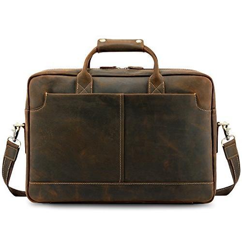 """Kattee XZ369CE-FBA Vintage Simple Look Real Leather 17"""" Lapt"""