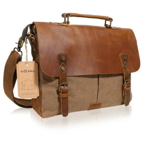 """Lifewit 14"""" Men Messenger Bag Vintage Canvas Leather Shoulde"""