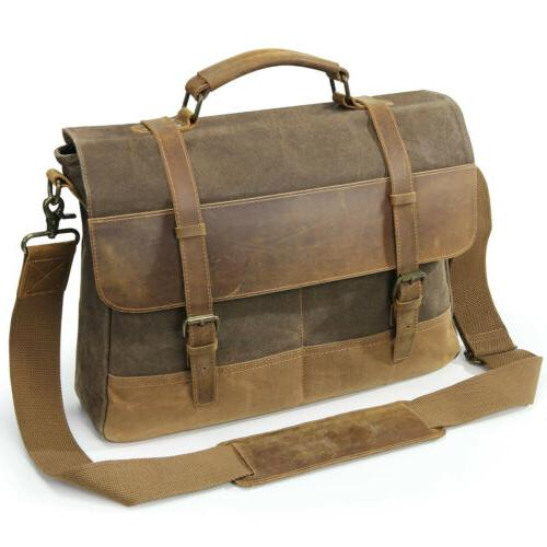 "Lifewit 15.6"" Men Messenger Bag Vintage Canvas Leather Shoul"