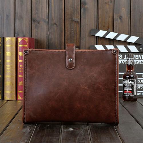 Men's Leather Messenger Crossbody Tablet Bags Handbag