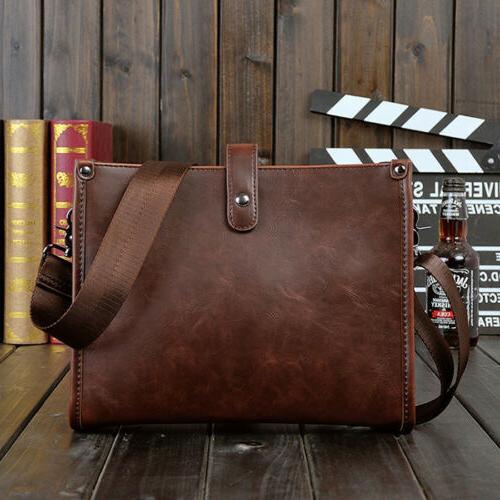 Men's Leather Shoulder Bag Messenger Crossbody Tablet Bags H
