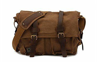 Sechunk Mens Messenger Bag, Cotton Canvas Leather Crossbody,