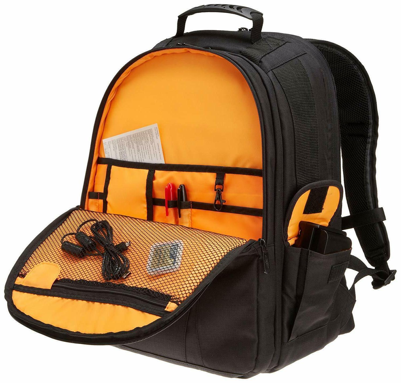 AmazonBasics DSLR Laptop Backpack Orange interior