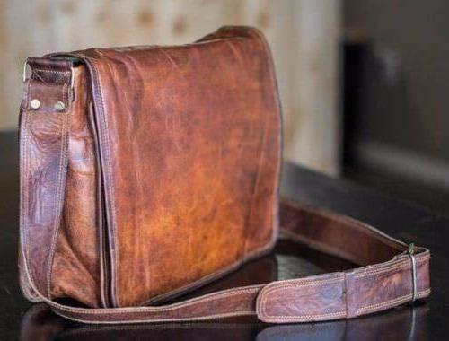bag leather vintage men messenger shoulder school
