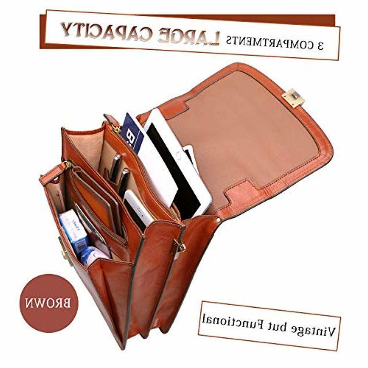Banuce Small Full Italian Leather Messenger Bag for Shoulder Crossbod