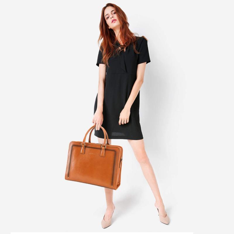 Banuce Women'S Full Leather Briefcase Satchel Bag 14 ...