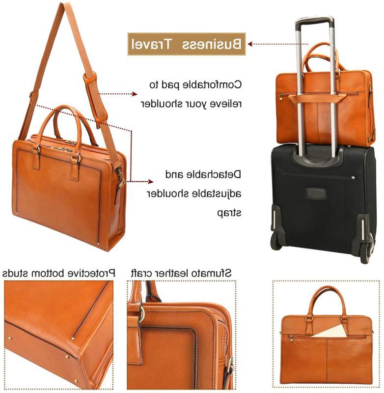 Banuce Full Leather Briefcase Messenger Bag