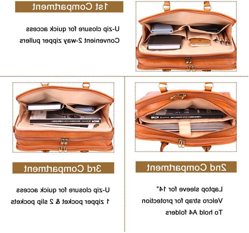 Banuce Women'S Full Leather Briefcase Messenger Satchel Bag Laptop