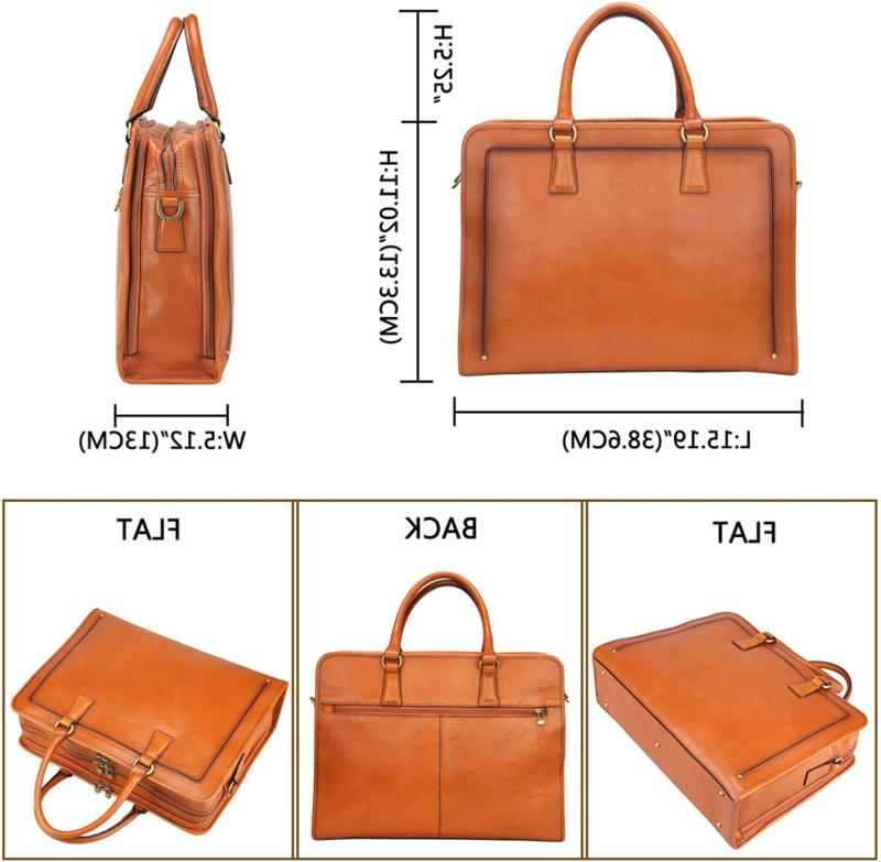 Leather Briefcase Messenger Bag 14
