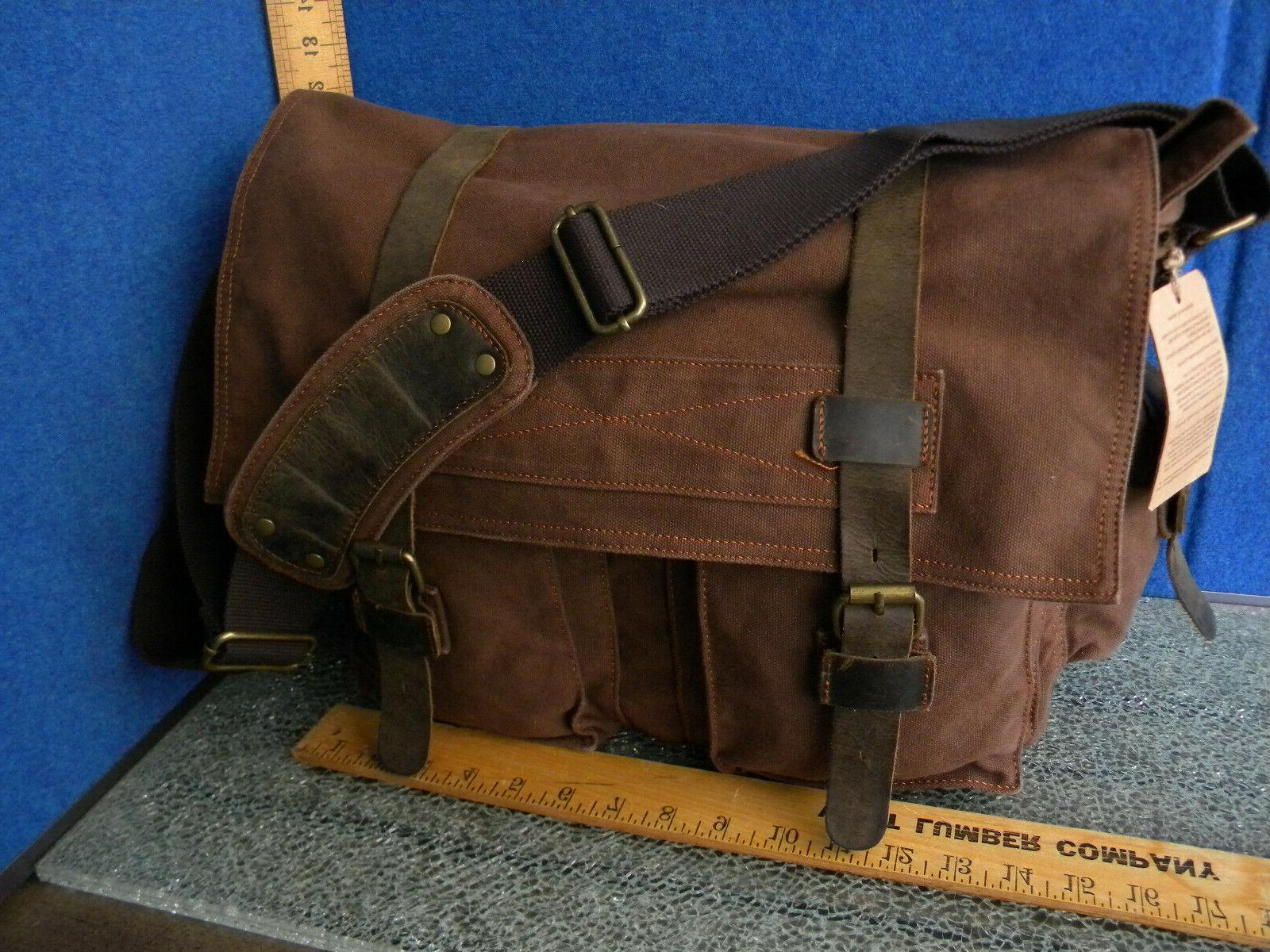 Berchirly Brown Canvas Leather Vintage Style Messenger