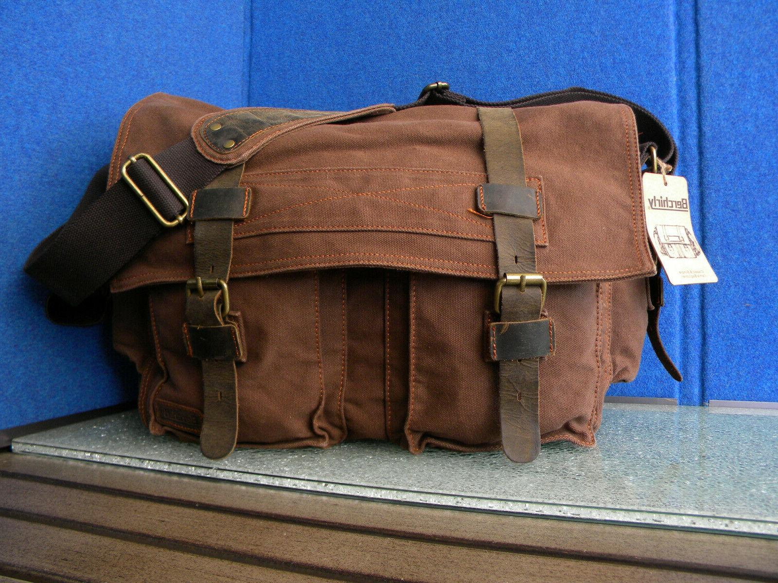 brown canvas and leather buckle strap vintage