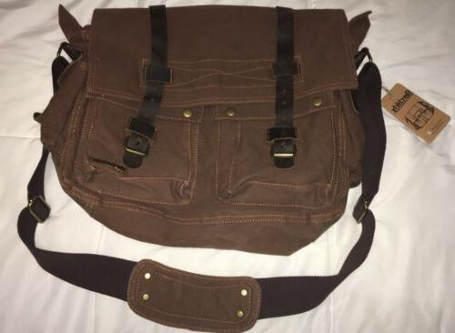 brown canvas and leather messenger bag brand
