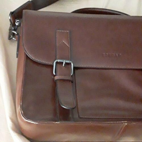 "Banuce Brown Messenger 17"" Laptop Bag"
