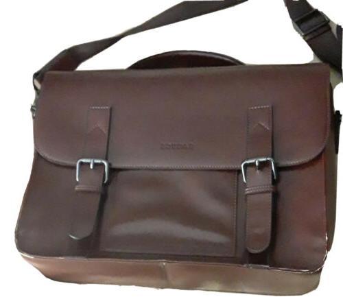 brown faux leather messenger bag 17 laptop