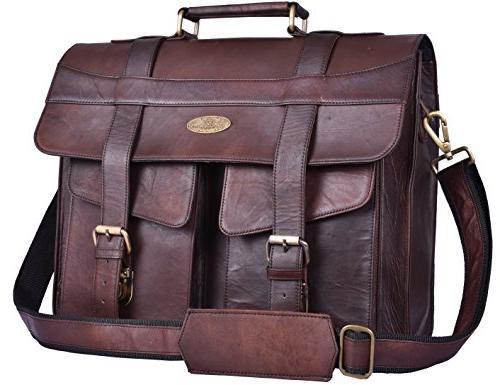 brown vintage distressed leather messenger