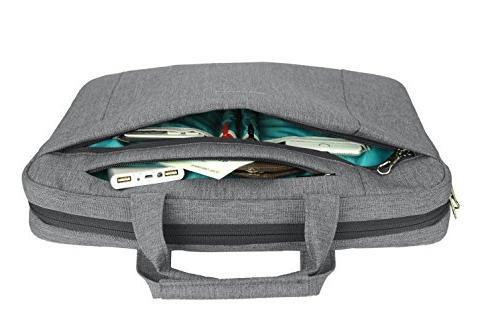 KROSER Laptop Inch Briefcase Shoulder Bag Repellent Laptop Bag Bussiness Carrying Laptop Sleeve for Men-Grey